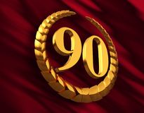 Anniversary Golden Laurel Wreath And Numeral 90 On Red Flag Royalty Free Stock Image