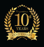 Anniversary golden laurel wreath 10 years. Illustration Royalty Free Illustration