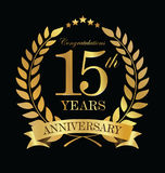 Anniversary golden laurel wreath 15 years. Illustration Royalty Free Stock Images