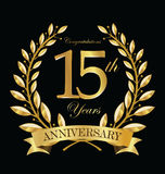 Anniversary golden laurel wreath 15 years. Illustration Stock Photography
