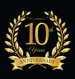 Anniversary golden laurel wreath 10 years. Illustration Stock Photography
