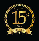 Anniversary golden laurel wreath 15 years. Illustration Stock Image