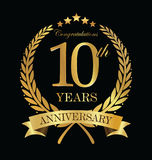 Anniversary golden laurel wreath 10 years. Illustration Royalty Free Stock Image