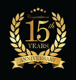 Anniversary golden laurel wreath 15 years. Illustration Stock Images