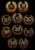 Anniversary golden laurel wreaths set Stock Images