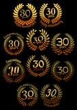Anniversary golden laurel wreaths set Stock Images