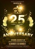 25 Anniversary golden Logo with Golden balloon royalty free illustration