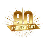 Anniversary golden ninety years number. 90th years festive Logo and greeting with sunburst for invitation decor. Flat style vector illustration isolated on stock illustration