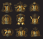 Anniversary golden numbers set. Festive compositions and greeting, with firework and stars for poster and card decor. Flat style vector illustration isolated Stock Photos