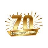Anniversary golden seventy years number Stock Photos