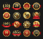 Anniversary golden signs set Stock Images