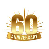 Anniversary golden sixty years number. 60th years festive Logo and greeting with sunburst for invitation decor. Flat style vector illustration isolated on Royalty Free Stock Images