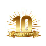 Anniversary golden ten years number. 10th years festive Logo and greeting with sunburst for invitation decor. Flat style vector illustration isolated on white Stock Images