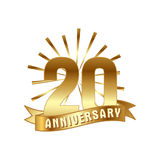 Anniversary golden twenty years number. 20th years festive Logo and greeting with sunburst for invitation decor. Flat style vector illustration isolated on stock illustration