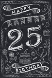 Anniversary Happy Birthday Card Design on Chalkboard. 25 Years Royalty Free Stock Photography