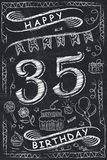 Anniversary Happy Birthday Card Design on Chalkboard. 35 Years Royalty Free Stock Photo
