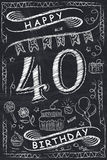 Anniversary Happy Birthday Card Design on Chalkboard Royalty Free Stock Photography