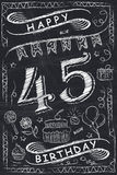 Anniversary Happy Birthday Card Design on Chalkboard. 45 Years Royalty Free Stock Images