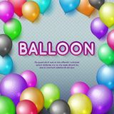 Anniversary and happy birthday party vector background with colorful balloons. Birthday balloon colorful illustration Vector Illustration