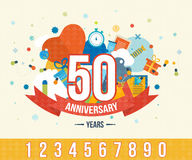 Anniversary happy holiday celebration emblems set Royalty Free Stock Photography