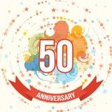 Anniversary happy holiday celebration emblems set Stock Images
