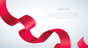 Realistic detailed 3d red ribbon. Curved ribbon. Realistic detailed 3d red ribbon, ribbon on white background. Vector illustration Stock Photography