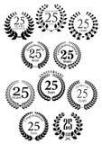 Anniversary heraldic laurel wreaths icons Stock Photography