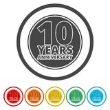 Anniversary icon set. Anniversary symbols isolated on white background. 10 years. Vector icon royalty free illustration