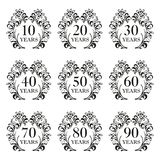 Anniversary icon set. Anniversary symbols in ornate frame with floral elements. 10,20,30,40,50,60,70,80,90 years. Template for car. Anniversary icon set vector illustration