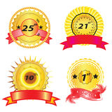Anniversary Icons. Four different anniversary ribbons icon set Stock Image