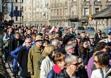 Anniversary of the Krakow Ghetto Liquidation - Remembrance March. Cracow. Cracow, Poland - March 11, 2018: The 75th Anniversary of the Krakow Ghetto Liquidation Stock Photos