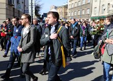 Anniversary of the Krakow Ghetto Liquidation - Remembrance March. Cracow. Cracow, Poland - March 11, 2018: The 75th Anniversary of the Krakow Ghetto Liquidation Royalty Free Stock Photos