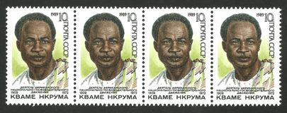 Anniversary of Kwame Nkrumah. USSR - coupling stamps printed 1989, Memorable edition photogravure printing, Topic famous people, Series Heads of state, 80th Royalty Free Stock Images