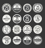 Anniversary label collection, 25 years. Anniversary badges and label collection, 25 years Stock Photo