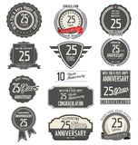 Anniversary label collection, 25 years. Anniversary badges and label collection, 25 years Stock Image