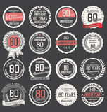 Anniversary label collection, 80 years. Anniversary badges and label collection, 80 years Stock Photo