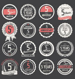 Anniversary label collection, 5 years. Anniversary badges and label collection, 5 years Royalty Free Stock Photography