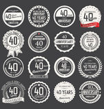 Anniversary label collection, 40 years. Anniversary badges and label collection, 40 years Stock Photos