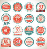 Anniversary label collection, 80 years. Anniversary badges and label collection, 80 years Stock Images