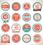 Anniversary label collection, 40 years Royalty Free Stock Photos