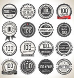 Anniversary label collection, 100 years Royalty Free Stock Photos