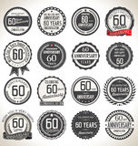 Anniversary label collection, 60 years. Anniversary badges and label collection, 60 years Royalty Free Stock Photo