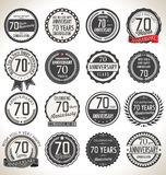 Anniversary label collection, 70 years. Anniversary badges and label collection, 70 years Royalty Free Stock Photo