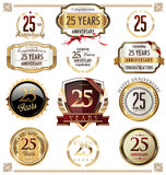 Anniversary label collection, 25 years. Anniversary golden label collection, 25 years Stock Images