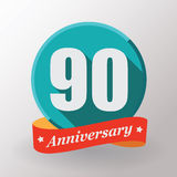 90 Anniversary  label with ribbon. Stock Images