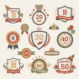 Anniversary label set Stock Photos