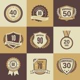 Anniversary label set Stock Images
