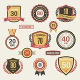 Anniversary label set Royalty Free Stock Photos