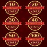Anniversary label set Stock Photos
