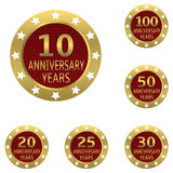 Anniversary label set. Red Anniversary label set with golden frames. Vector illustration Royalty Free Stock Images